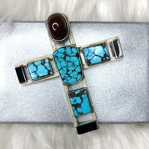 Southwest Cross sterling silver turquoise onyx